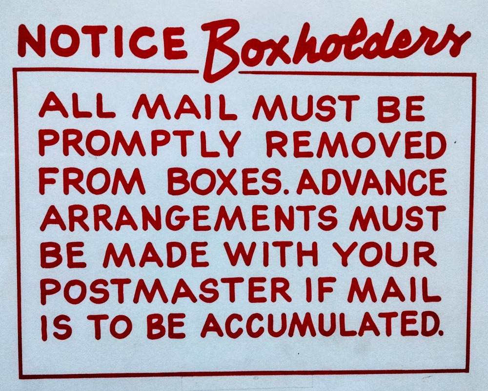 Post Office Box Sign