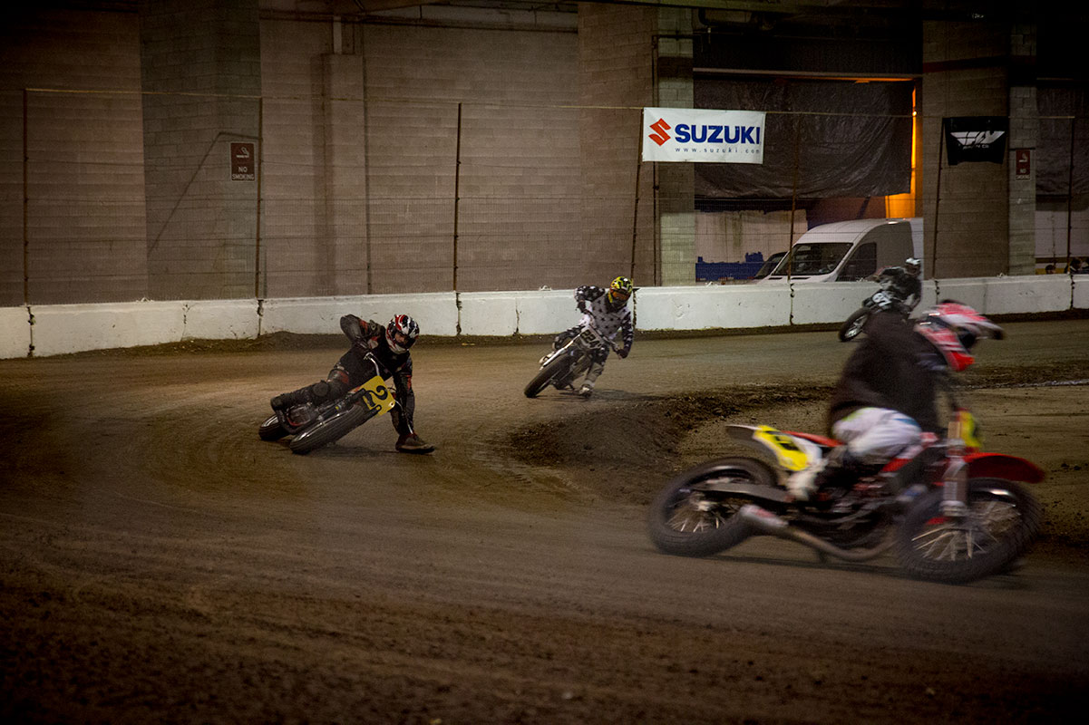 flat track motorcycle racing at salem speedway last moto
